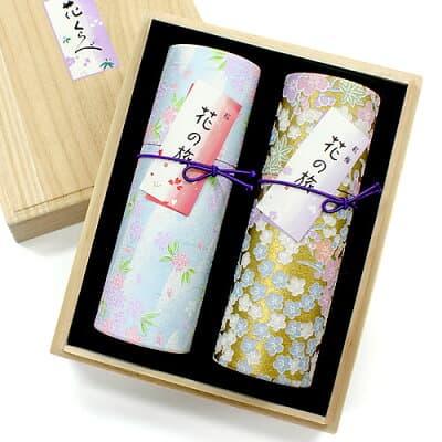 進物用線香 花くらべ2種セット「桜・紅梅」 桐箱入、短寸2筒詰