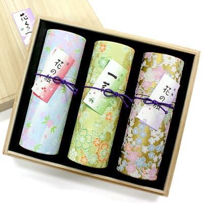 進物用線香 花くらべ3種セット「桜・紅梅・竹炭」 桐箱入、短寸3筒詰