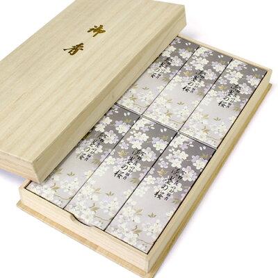 進物用線香 宇野千代のお線香 淡墨(うすずみ)の桜 桐箱入、短寸小箱6個詰