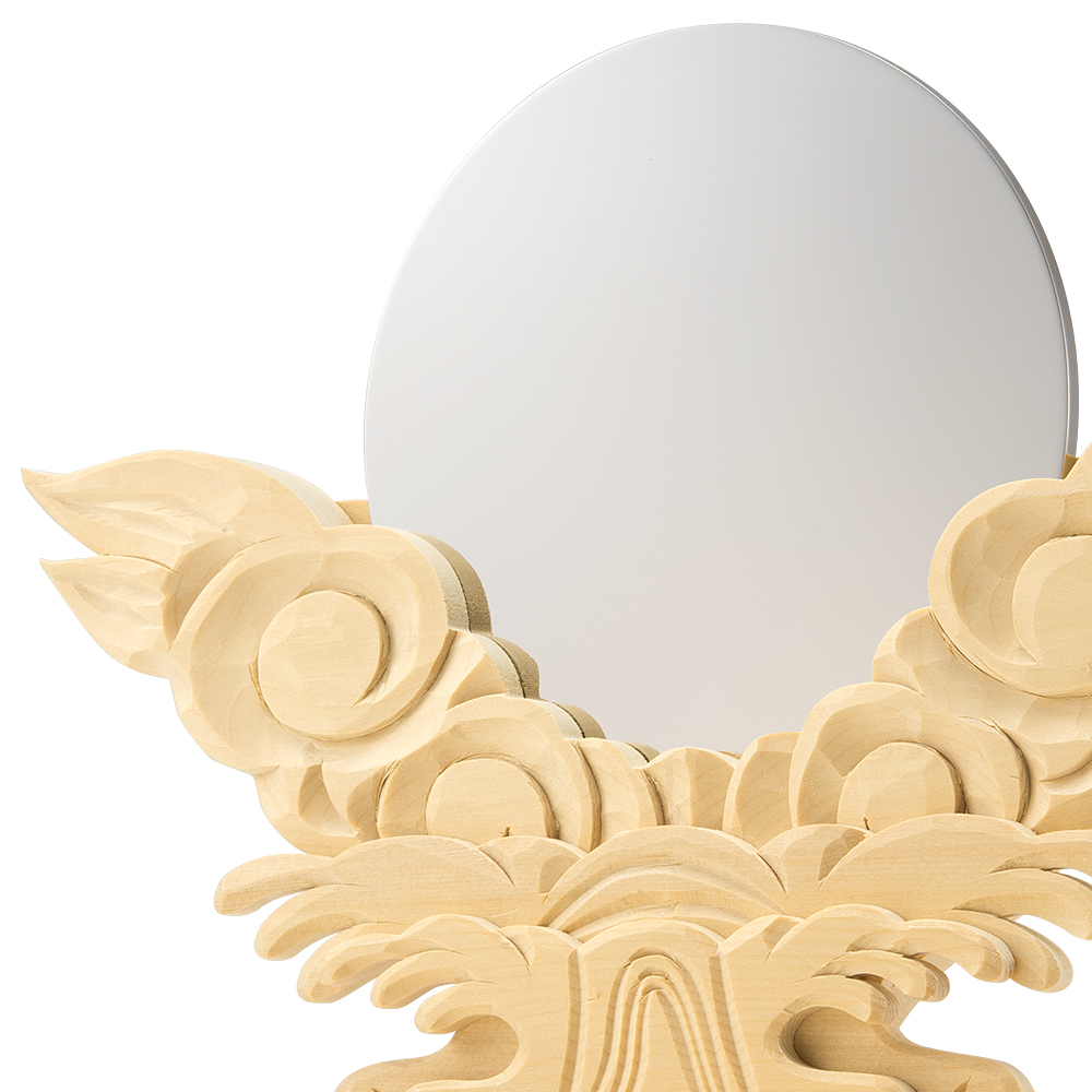 神鏡(上彫り台付) 3.5寸