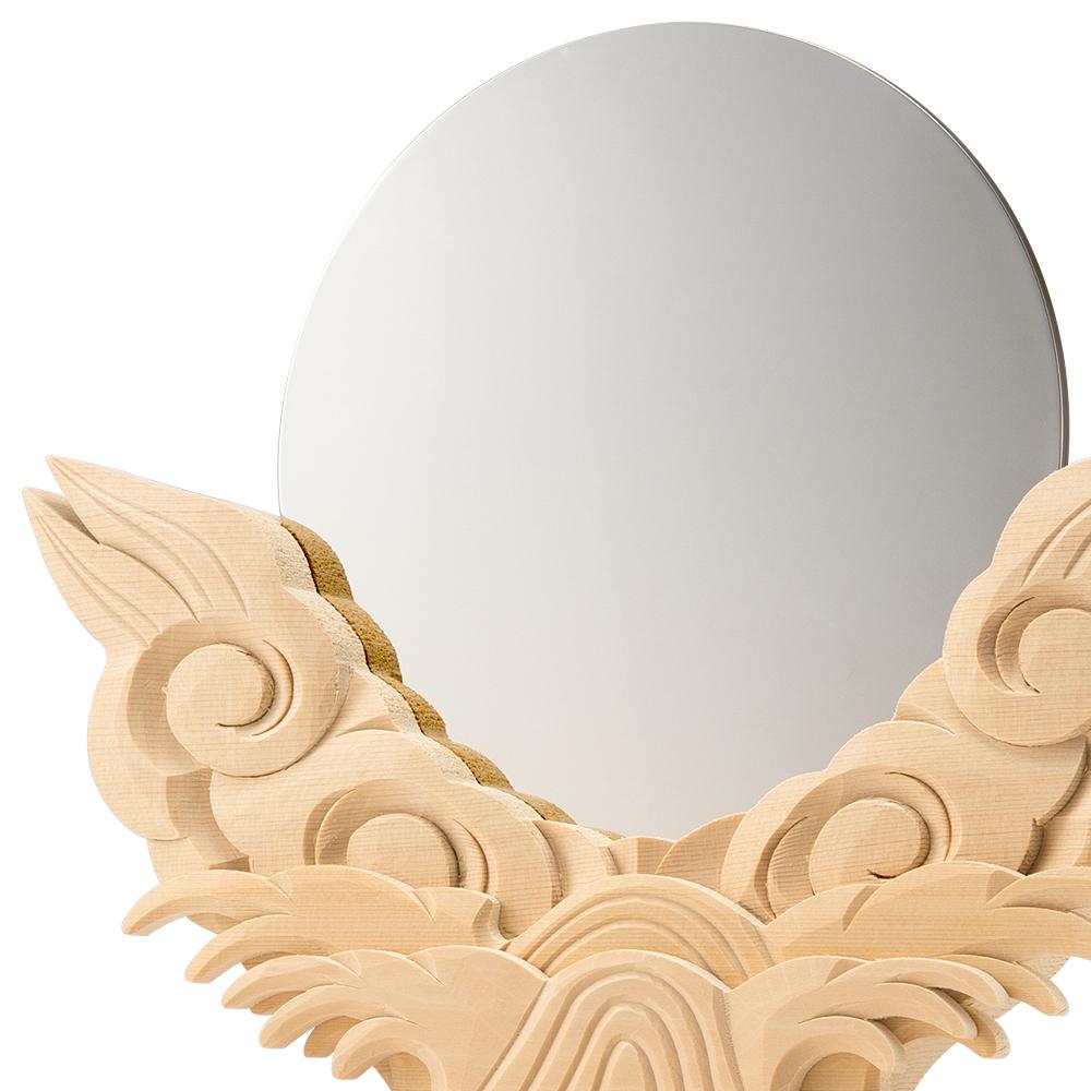 神鏡(上彫り台付) 6寸