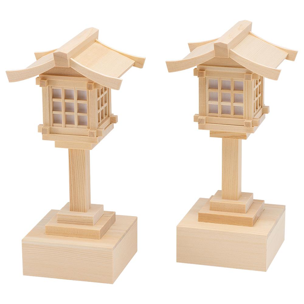 木製春日灯篭 木曽桧 コードレス(一対)