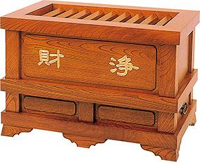欅製 柱付賽銭箱