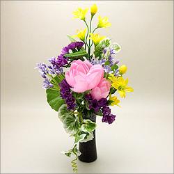 【仏壇用の仏花・造花】モダン仏花 A 花器付