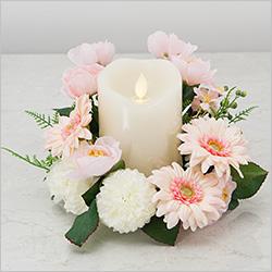 【仏壇用のミニ仏花・造花】モダン仏花 LEDキャンドルアレンジ ピンク(コードレス)