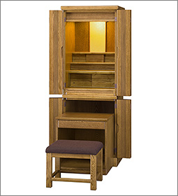 台付型モダン仏壇 東海(オーク色) 机・椅子付 48号
