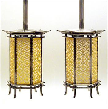 六角吊り灯篭 イブシ 豆(一対)