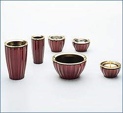 モダン仏具(現代仏具) 奏(かなで)6点セット エレガントワイン 3寸