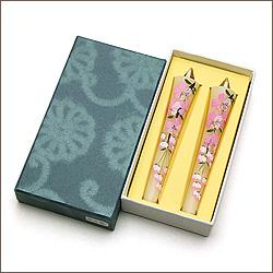 絵ろうそく(絵ローソク) 手描き「桜(さくら)」3号2本入り
