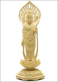 聖観音菩薩像 正八角台座 宝珠光背(柘植)