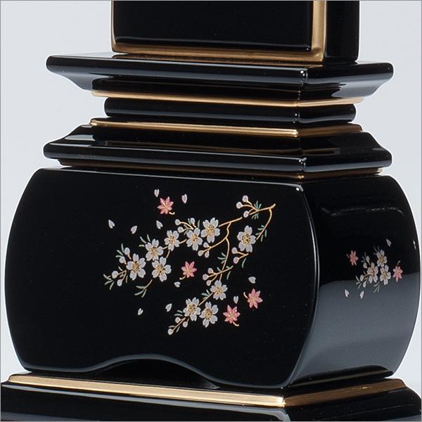 上塗蒔絵位牌「優雅 風桜」