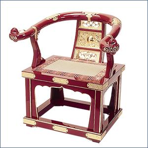 本曲録(椅子式) 朱塗り 金具埋め込み式