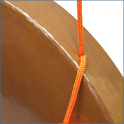 銅鑼 上等品 正絹朱色房紐付き