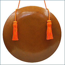銅鑼 本手打ち極上品 正絹朱色房紐付き
