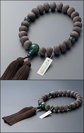 大特価京念珠◆男性用数珠 黒檀(素引き) みかん玉 龍紋瑪瑙(りゅうもんめのう)仕立 23玉【数珠袋付き】