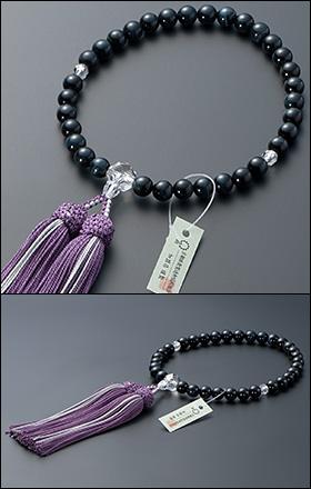 大特価京念珠◆女性用数珠 青虎目石 カット本水晶仕立 8mm玉【数珠袋付き】