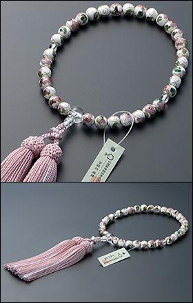 大特価京念珠◆女性用数珠 七宝焼(白) 本水晶仕立 8mm玉【数珠袋付き】