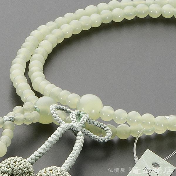 浄土真宗用本式数珠【女性用】 グリーンオニキス 8寸