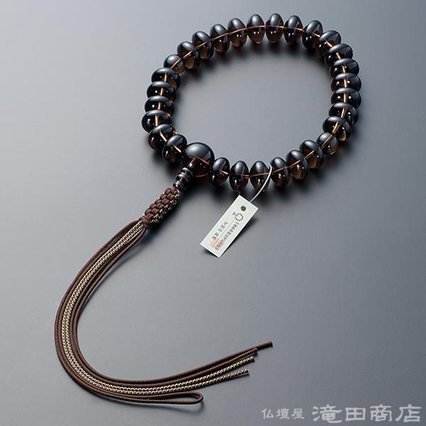 浄土真宗用本式数珠【男性用】 茶水晶 みかん玉 27玉