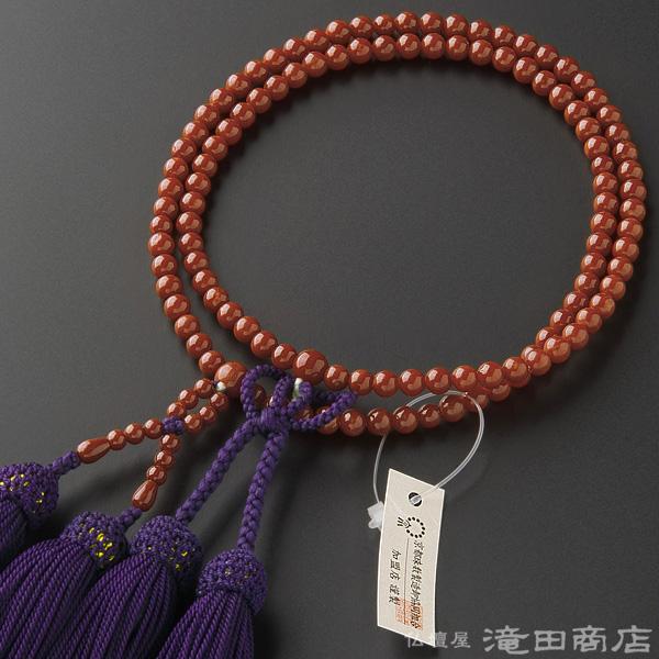 浄土真宗用本式数珠【女性用】 古渡珊瑚 8寸