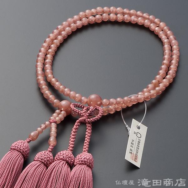 浄土真宗用本式数珠【女性用】 インカローズ(ロードクロサイト) 8寸