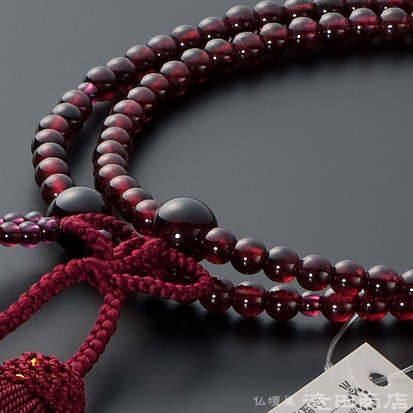 浄土真宗用本式数珠【女性用】 ガーネット 8寸