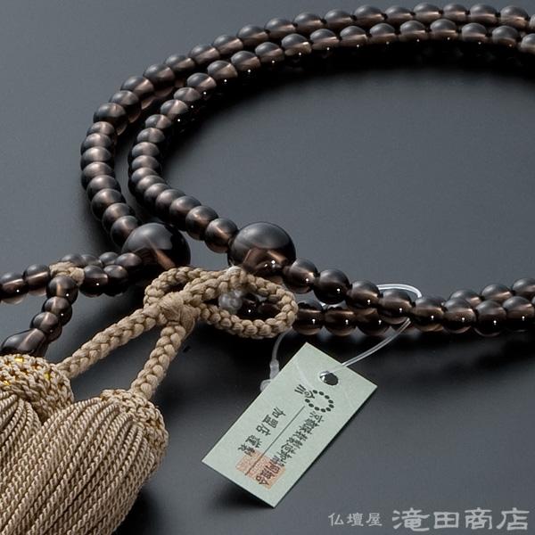浄土真宗用本式数珠【女性用】 茶水晶 8寸