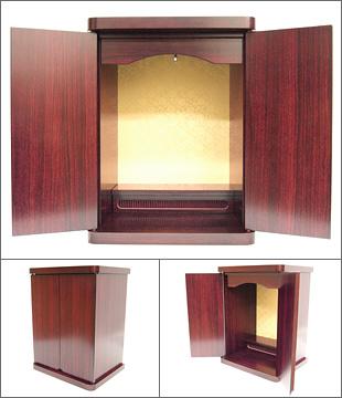 コンパクト仏壇 てまり紫檀調2枚戸 13号