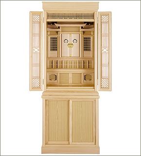 祖霊舎(神徒壇) 台付型 引き戸高台タイプ50号(杜印)