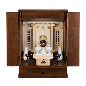 家具調神徒壇(祖霊舎) 上置型 ダーク 18号 神具セット付き