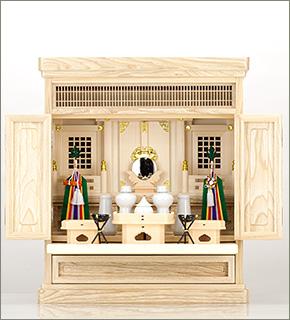 祖霊舎(神徒壇) 上置型20号(山印) 神具セット付き
