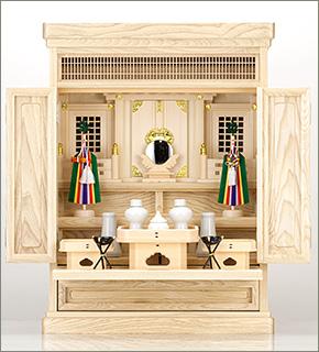 祖霊舎(神徒壇) 上置型23号(山印) 神具セット付き