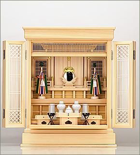 祖霊舎(神徒壇) 上置型23号(杜印) 神具セット付き
