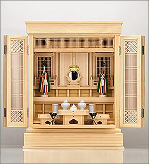 祖霊舎(神徒壇) 上置型25号(杜印) 神具セット付き