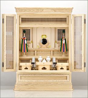 祖霊舎(神徒壇) 上置型30号(山印) 神具セット付き