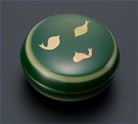 蒔絵入ぼかし塗り香合 青漆散蓮 1.8寸