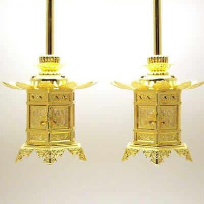 東用六角神前吊り灯篭(一対) 1.8寸 本体高さ10.5cm