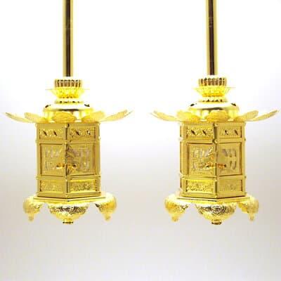 西用六角神前吊り灯篭(一対) 1.8寸 本体高さ10.5cm