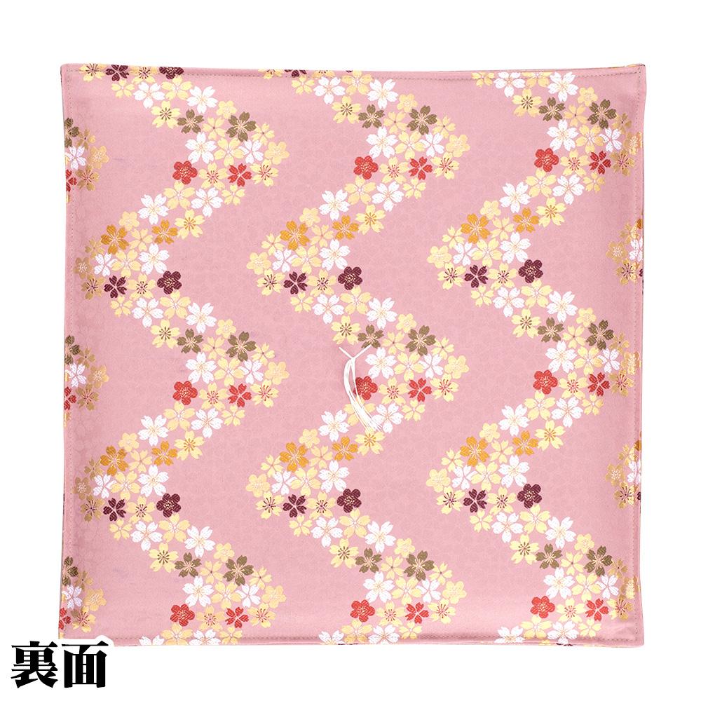 イグサ座布団 リバーシブル新錦 流れ桜 ピンク